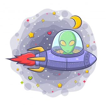 Alien assustador em um personagem de desenho animado disco voador