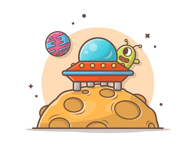 Alien bonito com nave espacial icon ilustração