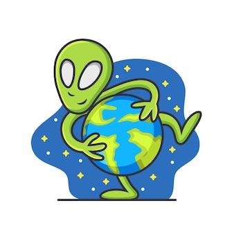 Alien com earth cartoon. ilustração do ícone, isolada