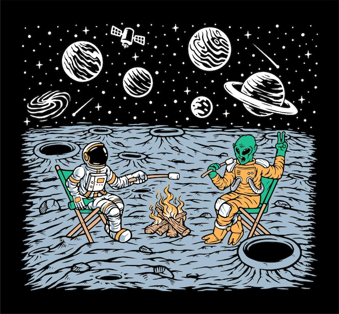 Alien e astronauta queimando marshmallows