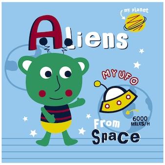 Alien e engraçado dos desenhos animados do ufo