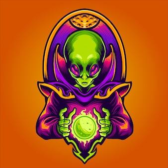 Alien fazendo nova ilustração do planeta