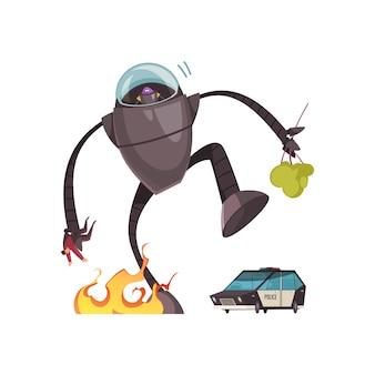 Alien malvado em máquina de robô atacando pessoas e desenhos animados da cidade