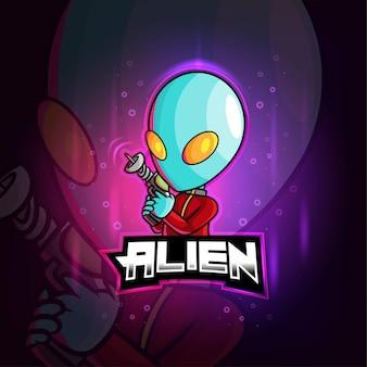 Alien mascote com logotipo colorido