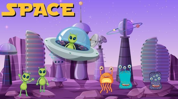 Alien na cena do espaço