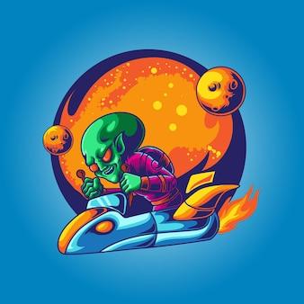 Alien pronto para a guerra com ilustração de nave espacial