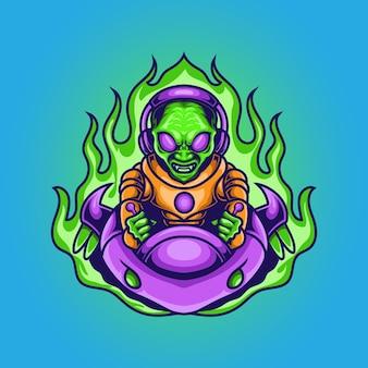 Alien pronto para invadir com ilustração de nave espacial