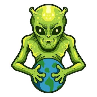 Alien segurar um projeto de ilustração vetorial terra