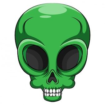 Alien verde cabeça criatura de outro mundo de ilustração