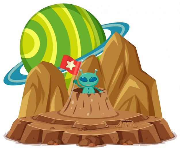 Alien verde segurando a bandeira em uma cratera em branco