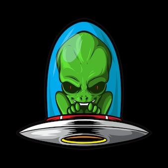 Alienígena com nave espacial
