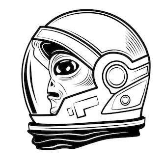 Alienígena em ilustração vetorial de traje espacial. personagem fofa, visitante cósmico, humanóide