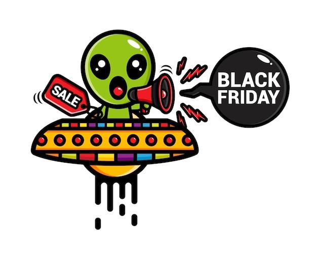Alienígena fofo gritando sexta-feira negra usando megafone