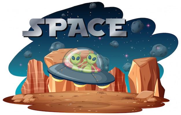 Alienígena na cena do espaço