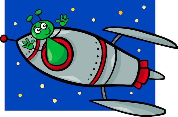Alienígena na ilustração dos desenhos animados do foguete
