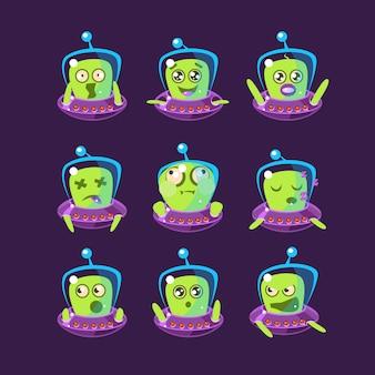 Alienígena no conjunto de emoticon ovni