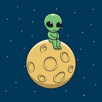 Alienígena triste dos desenhos animados na lua.