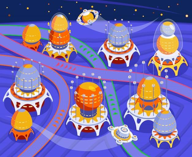 Alienígenas coloridos composição com espaço abstrato e cidade de alienígenas e ilustração de fundo azul
