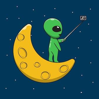 Alienígenas de desenhos animados tirando fotos na lua.