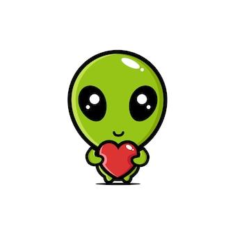 Alienígenas fofos abraçando corações de amor