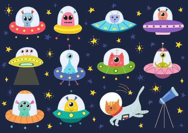 Alienígenas fofos na coleção de naves espaciais