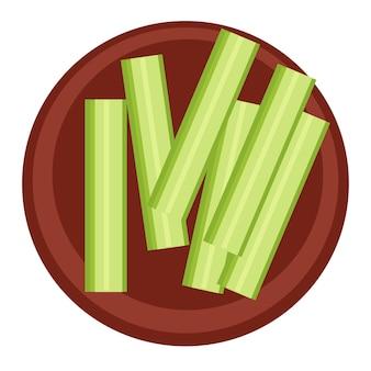 Alimentação, dieta e nutrição saudáveis. ícone isolado de placa com pepinos ou palitos de aipo. lanches para comer em restaurante, lanchonete ou bistrô. vegetais maduros crus, vegetais saborosos. vetor em estilo simples