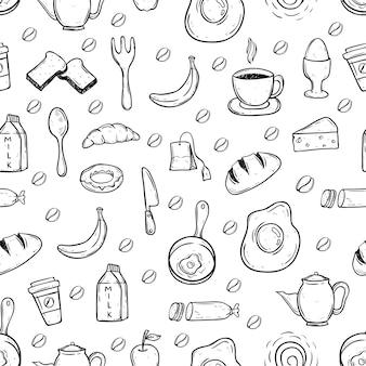 Alimentação saudável doodle preto e branco em padrão sem costura