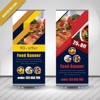 Alimento abstrato roll up para restaurante