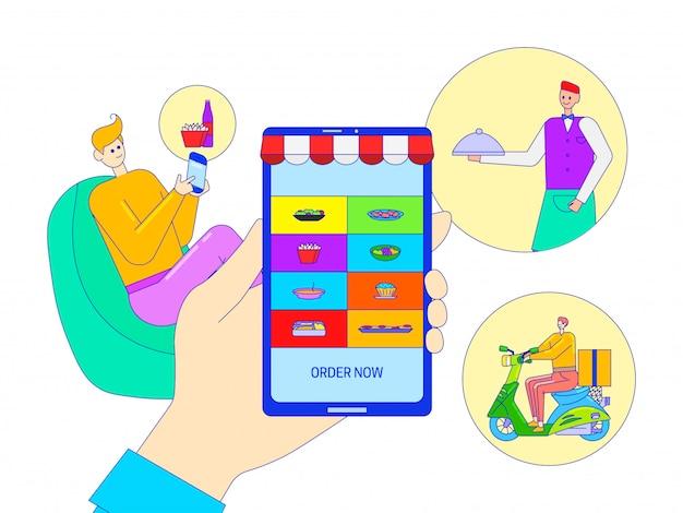 Alimento afastado na aplicação móvel, ilustração do pedido on-line. entrega de restaurante por passeio de scooter. compra de personagem de homem