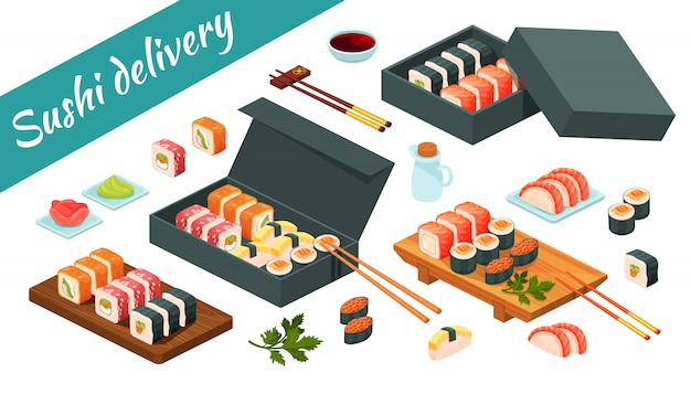 Alimento asiático do menu do serviço de entrega do sushi isolado no branco. sushi isométrico conjunto, sashimi