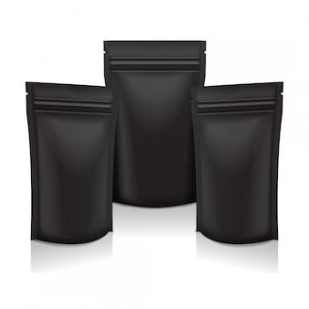 Alimento de folha em branco preto ou saco de saquinho de bolsa de cosméticos pacote embalagens com zíper.