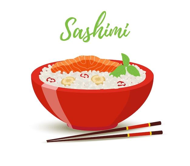 Alimento de japão - sashimi na bacia vermelha. salmão
