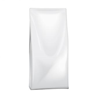 Alimento em branco de papel alumínio ou papel ou produtos químicos domésticos embalagem saco. saquinho lanche comida para animais.