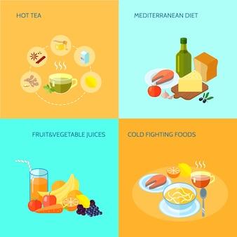 Alimento saudável flat