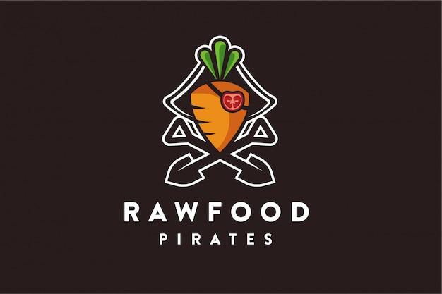 Alimentos crus, logotipo de piratas de tomate cenoura