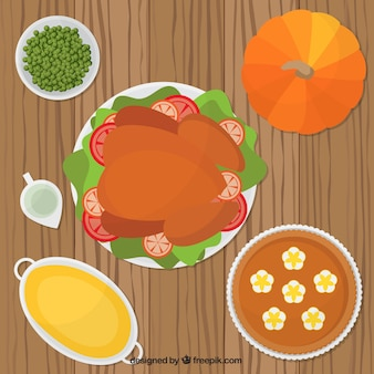 Alimentos de graças pronto para o jantar