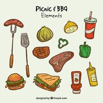 Alimentos de piquenique e churrasco desenhados mão