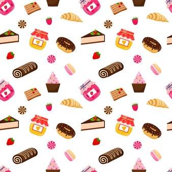 Alimentos doces e padrão sem emenda de doces em fundo branco