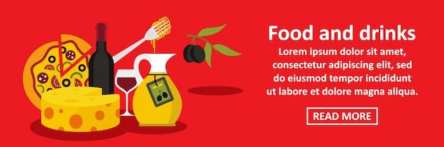 Alimentos e bebidas itália banner horizontal conceito