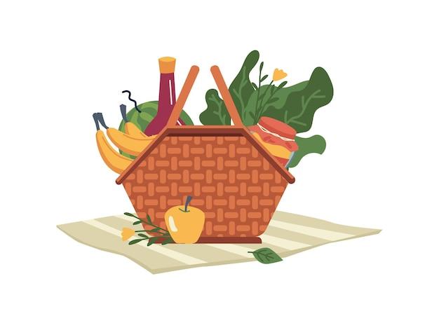 Alimentos e bebidas na cesta, garrafa de vinho lanches isolado ícone cartoon plana recipiente de vime