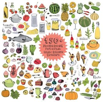 Alimentos e Bebidas Panelas e Frigideiras Elementos desenhados à mão Conjunto de cores