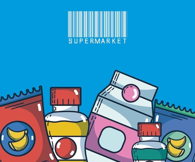 Alimentos e bebidas super produtos de mercado