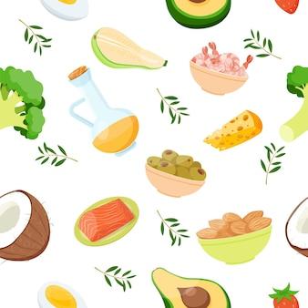 Alimentos e produtos keto padrão uniformecoco, brócolis, abacate, salmão, camarão, amêndoa e azeitona