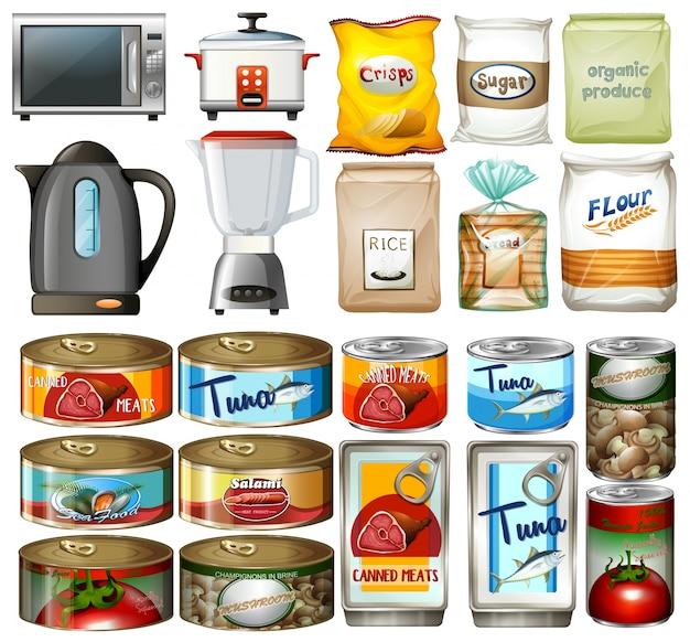 Alimentos enlatados e utensílios de cozinha eletrônicos