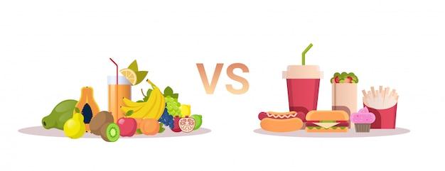Alimentos escolha dieta conceito saudável frutas frescas vs lixo saudável fast-food horizontal