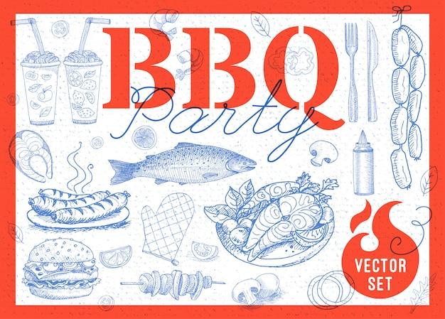 Alimentos, especiarias, bebidas, elementos de mão desenhada.