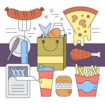 Alimentos estilo linear e elementos de vetores de supermercado