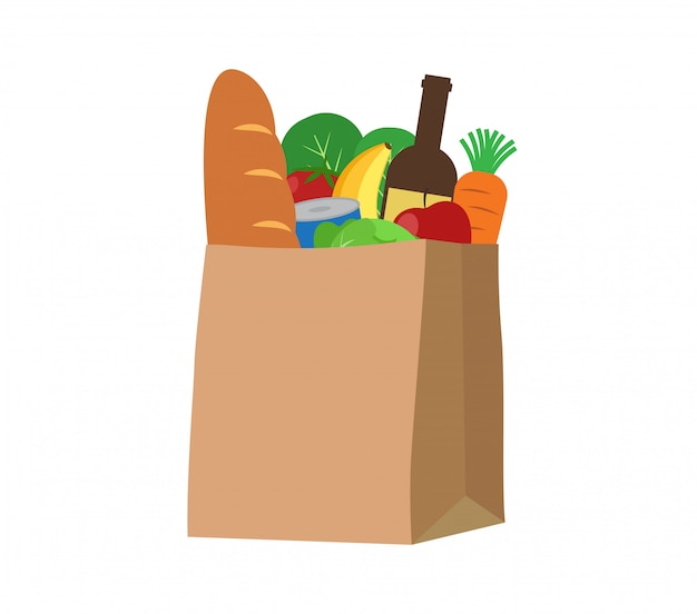 Alimentos frescos e produtos de bebidas em um saco de papel