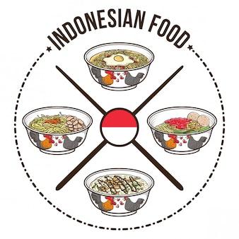 Alimentos indonésios com design de distintivo chinês tigela e pauzinhos