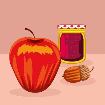 Alimentos maçã, bolota e geléia
